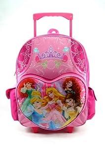 "Princess 16"" Rolling Backpack Cinderella Brave Mermaid Snow White"