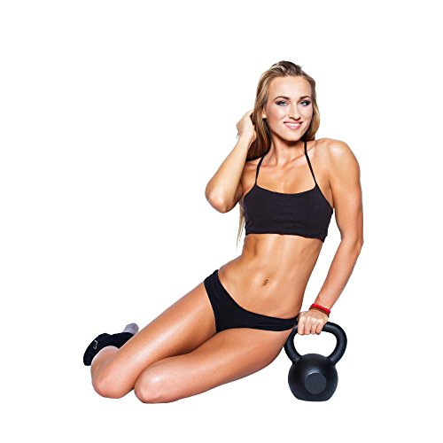 Wallmonkeys WM219282 Sexy Blonde Fitness Model with Kettlebell Peel and Stick Wall Decals (24 in H x 24 in W)