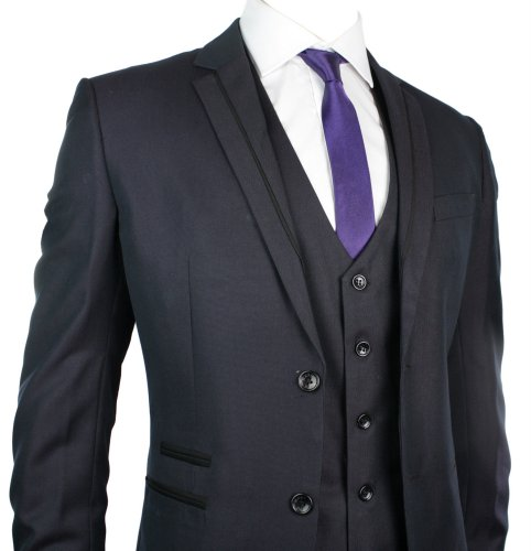Mens Slim Fit Suit Purple Black Trim 3 Piece Work Office or Wedding Party Suit UK