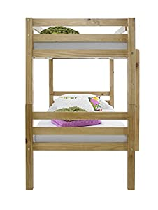 Happy Beds Bunk Bed Straight Solid Pine Wood Two Sleeper Children Memory Foam Mattress 3' Single 90 x 190 cm