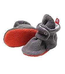 Zutano Newborn Unisex - Baby Fleece Bootie - Baby Fleece Bootie - GRAY/GRAY 3M