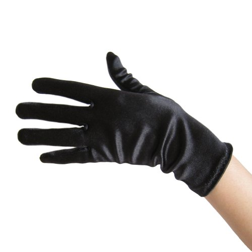 Black Satin Gloves (Wrist Length) ~ Formal, Wedding, Theatrical, Costume Party