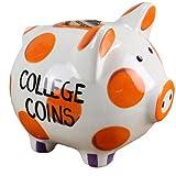 Young%27s Inc Young's Ceramic Money Piggy Bank, 7-Inch, Orange/Purple