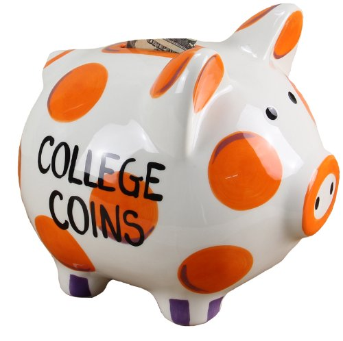 Young's Ceramic Money Piggy Bank, 7-Inch, Orange/Purple - 1