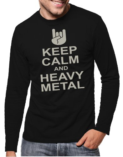 Touchlines-langarm-T-Shirt-Keep-Calm-and-Heavy-Metal-Camiseta-color-negro-plata-talla-XL