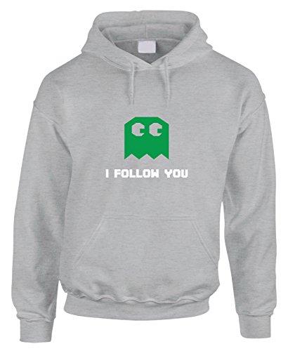 Felpa con cappuccio Pacman - I follow you - gioco anni 80 - - in cotone by Fashwork
