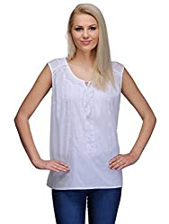 Curvy Q Sleeveless Women's White Top