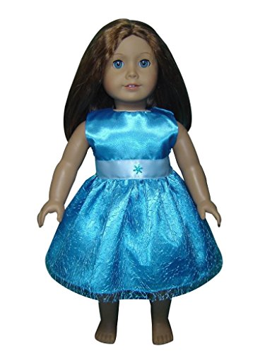 "Glamerup: Addison - Frozen Sparkle Elsa Inspired 18"" Doll Party Dress In Blue, With Snowflake"
