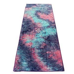 "Yoga Mat Towel- Strops Eco Friendly, Microfiber, Super Absorbent Yoga Towel for Sports, Exercise, Yoga & Pilates, Beach, Etc (Blue, Purple, Pink Tie Dye with Purple Trim 72""x24"")"