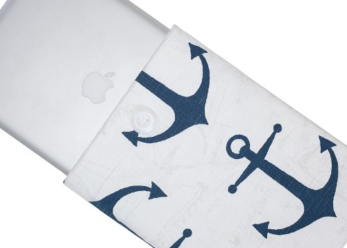 $$  Kuzy - 15-inch Navy Blue Anchor Cotton Sleeve Handmade Cover for MacBook Pro 15.4