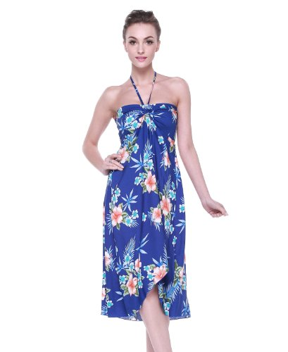 Tropical Group Women's Hawaiian Butterfly Dress L Hibiscus Blue