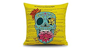 Skull Pattern Linen Square Decorative Throw Pillowcase - Skull Pattern (Y), Yellow