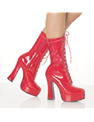 5 Inch Sexy High Heeled Ankled Boot Stack Heel w/ 1 1/2 Inch Platform Red Patent