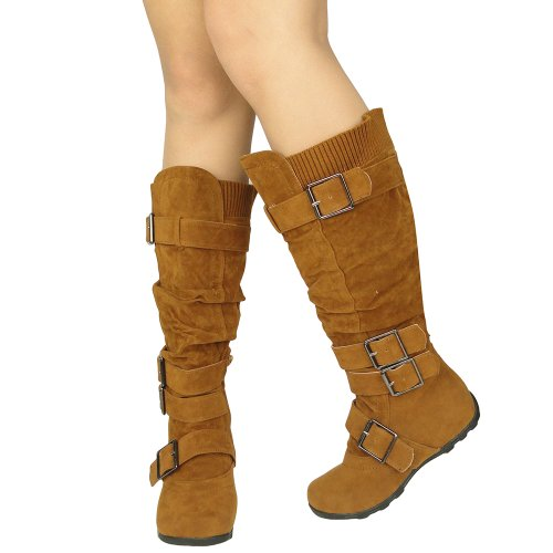 Womens Knee High Boots Ruched Leather Buckles Knitted Calf