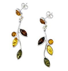 Silver Amber Earrings, Multicolor, Baltic Amber-Leaves of Amber Earrings