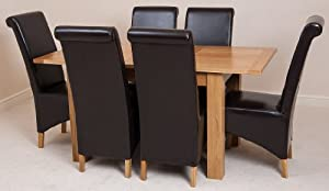 HAMPTON SOLID OAK EXTENDING DINING TABLE & 6 BROWN MONTANA CHAIRS