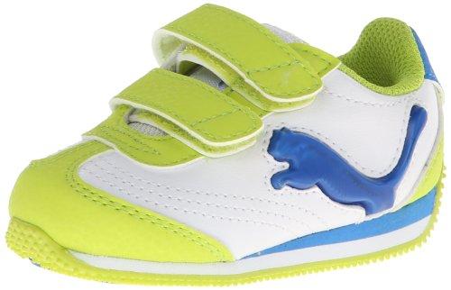 Puma Speeder Illuminescent V Light-Up Sneaker (Toddler/Little Kid/Big Kid),White/Lime Punch/French Blue,8 M Us Toddler front-1014069