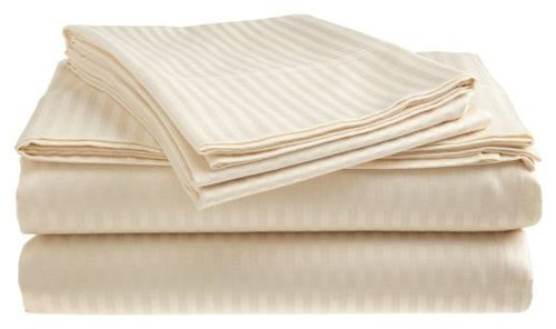 Deluxe Hotel Bedding, Premier Sateen Twin Sheet Set, Ivory front-637962