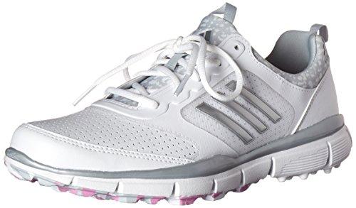 adidas Women's W Adistar Sport Golf Spikeless, FTWR White/Matte Silver/Wild Orchid-TMAG, 10 M US