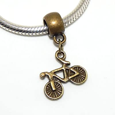 "Jewelry Monster Dangling Bronze ""Bicycle"" Charm Bead for Snake Chain Charm Bracelet"