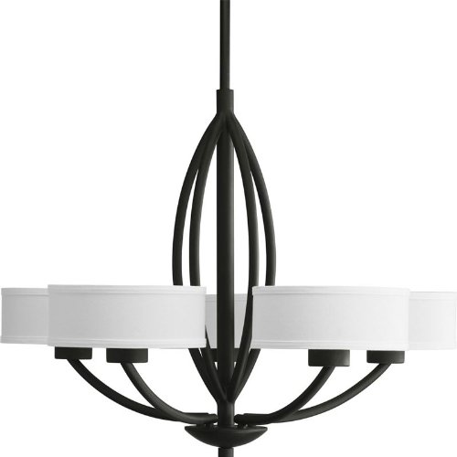 Progress Lighting P4539-80 Calven Five Light Chandelier, Forged Black Finish with White Fabric Shade