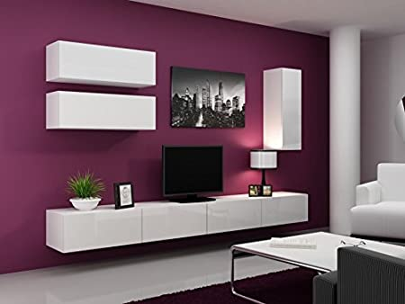 Living Wall 'VIGO Full IV' High Gloss TV Unit Korpus Weiß Matt · Front Schwarz Hochglanz