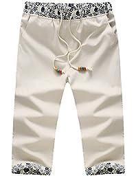 Hzcx Fashion mens string elastic waist cotton linen blends casual beach shorts(US M931-32)TAG XL, Beige)