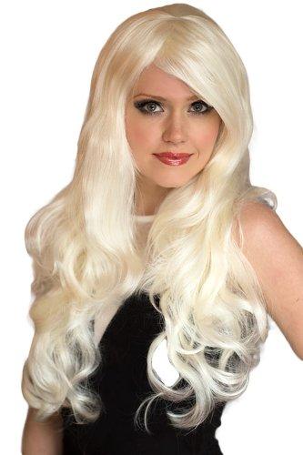Platinum Blonde Perücke mit einer Seite Party und große Locken, extra lang: Dolly 250g