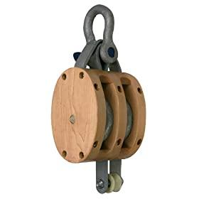 "Campbell 3002K 5"" Double Regular Wood Shell Block with K Screw Pin Anchor Shackle, 1800 lbs Load Capacity, 5/8"" Rope, 1-3/4"" Sheave"