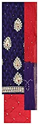M S Bandhani Women's Cotton Silk Unstitched Dress Material (Blue and Red)