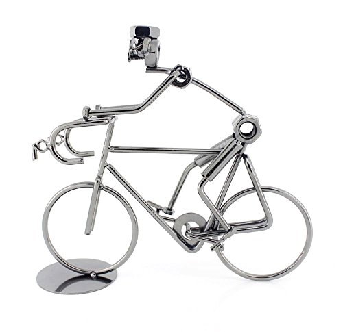 Berry President® Creative Hand Soldering Home Decor Cast Iron Wires and Screws Statue/figurine Bicycle Rider/bicycle Bike Race Handicraft Works 7.2''