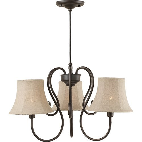 Royce Lighting RLCH5149/3-23 Wrought Iron Collection 3-Light Portable Indoor/Outdoor Chandelier, Natural Linen Fabric Shades, Oil-Rubbed Bronze Finish