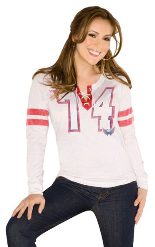 Washington Capitals Women&#039;s Kickoff Lace Up Tri-Blend Long Sleeve T-Shirt - Touch by Alyssa Milano at Amazon.com