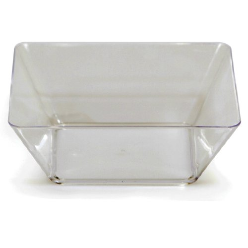 Creative Converting 4 Count Square Plastic Bowl, 5-Inch, Clear