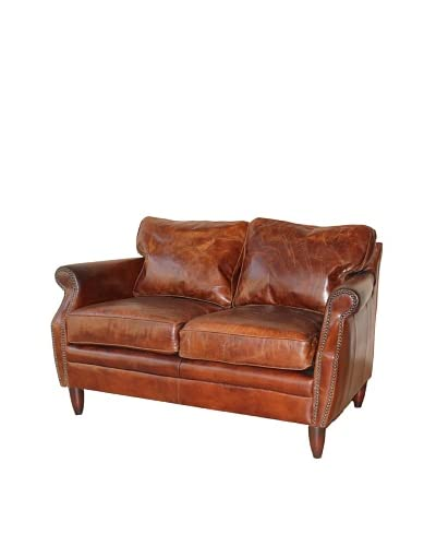 Mélange Home York Top-Grain Leather Love Seat, Vintage Cigar
