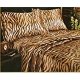 Animal Print Satin Sheet Sets, King Size Tiger