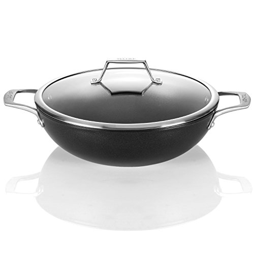 TECHEF - Onyx Collection, 12-Inch Wok / Stir Fry Pan with Glass Lid, coated with New Teflon Platinum Non-Stick Coating (PFOA Free)
