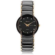 buy Geneva Platinum Men'S Black Steel Watch