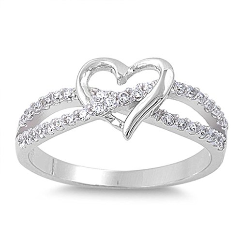 Sterling Silver Women's Flawless Colorless Cubic Zirconia Infinity Knot Wedding Promise Heart Ring (Sizes 3-12) (Ring Size 6)