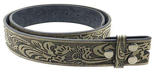 """Leather Belt Strap with Embossed Western Scrollwork 1.5"""" Wide (Brushed Black-M)"""