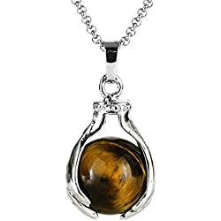 Beadnova Healing Hand Holding Natural Brown Tiger Eye Gemstone Crystal Ball Pendant Necklace Gift Box Pack