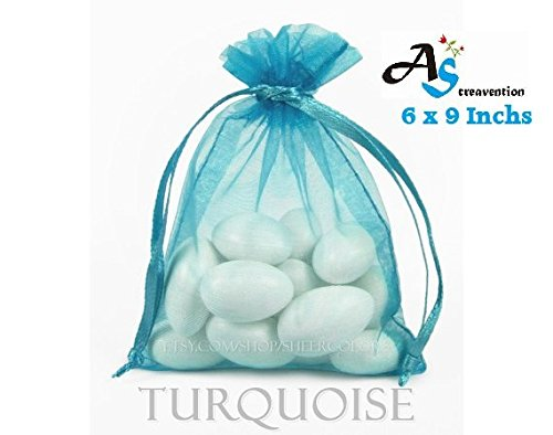 A&S Creavention® Basic Elegant Organza Drawstring Jewelry Pouches Bag Party Wedding Gift Bags 5x7 Inches, 100pcs (5x7