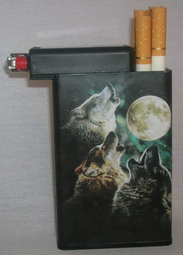 Cigarette Case Wolves Pack With Built On Lighter Holder