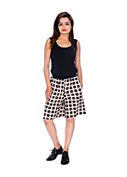 MSONS Women's Fusion Wear Beige & Coffee Cube Printed Shorts- Free Size