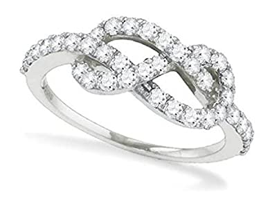 0.77 cttw 10k White Gold Diamond Infinity Twist Love Knot Promise Ring, 6mm (FREE SIZING)
