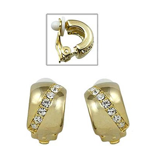 Goldtone with Diagonal Rhinestone Line Clip-On Earrings Fashion Jewelry