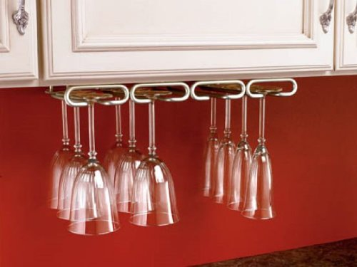 Hardware Distributors RS3450.11SN Stemware Quad Under Cabinet Organizer Wall Accessories - Satin Nickel