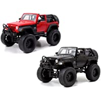 2007 Jeep Wrangler Black And Red Off Road Set Of 2 1/24 By Jada 97446 Set