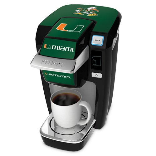 Keurig K10 Black Mini Plus Single Cup Personal Brewer With University Of Miami Decal Kit
