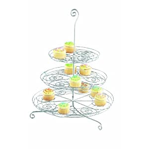 "Tag Party 3-Tier Cupcake Design, Silver with Swirl Design, 20"" Tall"